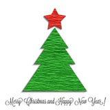 De gestileerde die Kerstboom wordt gemaakt van omfloerst document Royalty-vrije Stock Foto