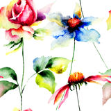 De gestileerde Gerber en illustratie van Rozenbloemen Royalty-vrije Stock Fotografie