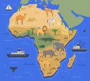 De gestileerde kaart van Afrika met inheemse dieren en aardsymbolen Eenvoudige geografische kaart Vlakke vectorillustratie Royalty-vrije Stock Afbeelding