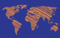 De gestileerde Kaart van de Wereld Royalty-vrije Stock Afbeeldingen