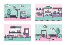 De gestileerde moderne minimalistic vectorstad plaatst illustraties Park, speelplaats, landbouwersmarkt, straatcaffee vector illustratie