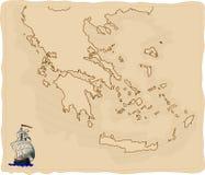 De gestileerde oude kaart van Griekenland royalty-vrije illustratie