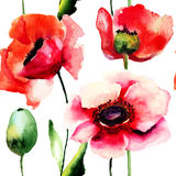 De gestileerde Papaver bloeit illustratie Royalty-vrije Stock Afbeeldingen