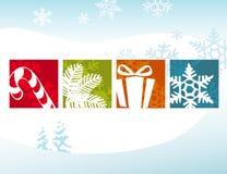 De gestileerde Pictogrammen van Kerstmis vector illustratie