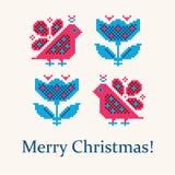 De gestileerde prentbriefkaar van Kerstmis royalty-vrije stock foto