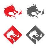 De gestileerde vectorillustraties van draken silhouetteert ontwerp in de vorm van een vierkant op een witte achtergrond stock illustratie