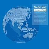 De gestippelde achtergrond van de wereldkaart DE BOL VAN DE AARDE Het concept van de globalisering stock illustratie