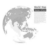 De gestippelde achtergrond van de wereldkaart DE BOL VAN DE AARDE Het concept van de globalisering royalty-vrije illustratie