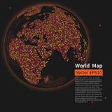 De gestippelde achtergrond van de wereldkaart De bol van de nachtaarde globalisering stock illustratie