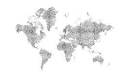 De gestippelde achtergrond van de wereldkaart Halftone ontwerp van de aardekaart vector illustratie