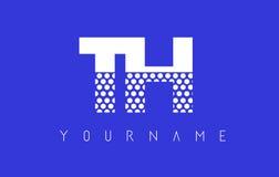 De Gestippelde Brief Logo Design van Th T H met Blauwe Achtergrond Stock Afbeeldingen