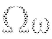 De gestippelde Brief van het Patroon Griekse Alfabet van Omega royalty-vrije illustratie