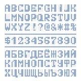 De gestippelde digitale letters en de getallen van het doopvontalfabet Royalty-vrije Stock Afbeelding