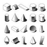 De gestippelde isometrische voorwerpen van Memphis stock afbeeldingen