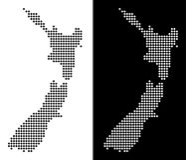 De gestippelde Kaart van Nieuw Zeeland vector illustratie