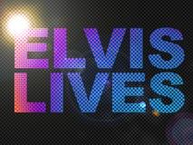 De gestippelde Tekst van het Teken van het Leven van Elvis van Lichten Royalty-vrije Stock Afbeeldingen