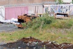 De gestolen auto's brandden en dumpten in Dublin, Ierland stock fotografie