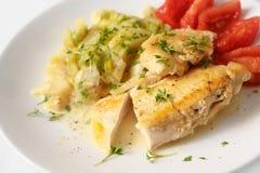De gestoofde filet van de kippenborst met de groenten van de selderieprei en tomaten, gezond ketogenic laag carburatordieet voor  stock foto's
