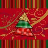 De gestreepte kaart van Kerstmis met nieuwe jaarboom Royalty-vrije Stock Afbeelding