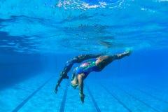 De gesynchroniseerde het Zwemmen Dans van de Foto van Meisjes Onderwater Stock Foto's
