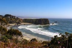 De getijdenbroodjes aan de kust rond een baai en van de landtong zuiden van Mendicino Californië met defocused binnen purpere blo royalty-vrije stock fotografie