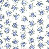 De getrokken blauwe naadloze bloem van de pastelkleurwaterverf hand Stock Afbeeldingen