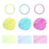 De getrokken cirkels, het in de schaduw stellen, vectorelementen Royalty-vrije Illustratie
