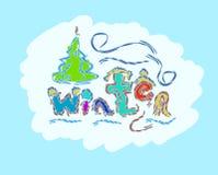 De getrokken creatieve seizoengebonden kaart van de de wintertekst hand Royalty-vrije Stock Foto