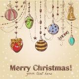 De getrokken decoratieve prentbriefkaar van Kerstmis hand Royalty-vrije Stock Afbeelding