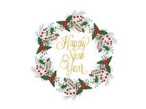 De getrokken die illustratie van de Kerstmiskroon hand voor groetkaarten op wit wordt geïsoleerd Royalty-vrije Stock Foto