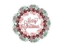 De getrokken die illustratie van de Kerstmiskroon hand voor groetkaarten op wit wordt geïsoleerd Royalty-vrije Stock Afbeelding