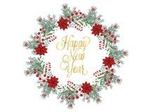 De getrokken die illustratie van de Kerstmiskroon hand voor groetkaarten op wit wordt geïsoleerd Stock Foto