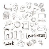 De getrokken elementen van de bedrijfsfinanciënkrabbel hand stock illustratie