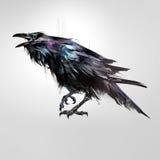De getrokken geïsoleerde gekleurde raaf van de vogelzitting royalty-vrije illustratie