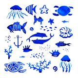 De getrokken gestileerde reeks van de Sealifewaterverf hand royalty-vrije illustratie