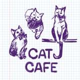 De getrokken illustratie van de kattenkoffie Hand Stock Afbeeldingen