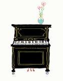 De getrokken illustratie van de pianokaart hand Royalty-vrije Stock Afbeelding