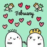 De getrokken illustratie van februari hand met leuke heemst in liefde vector illustratie