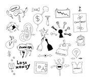 De getrokken illustratie van het bedrijfsrenteconflict hand royalty-vrije illustratie