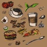 De getrokken illustratie van het Caffevoedsel hand Stock Afbeelding