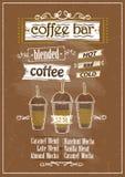 De getrokken illustratie van het koffiebarmenu hand Stock Fotografie