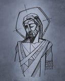 De getrokken illustratie van Jesus Christ hand vector illustratie
