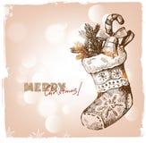 De getrokken illustratie van Kerstmis hand Stock Afbeeldingen