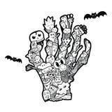 De getrokken krabbel van Halloween hand Overledene` s hand Grappige abstracte ziek Stock Afbeeldingen