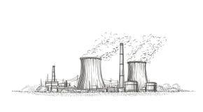 De getrokken schets van de kernenergieinstallatie hand Vector Royalty-vrije Stock Afbeelding