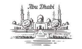 De getrokken schets van Sheikh Zayed moskee De illustratie van Abu Dhabi vector illustratie