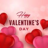 De getrokken typografie van de valentijnskaartendag hand met 3D harten De kaart van de vakantiegroet, affiche, banner, embleem, v vector illustratie