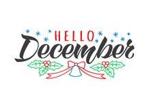De getrokken van letters voorziende kaart van Hello December hand met de takken en de klok van de krabbelspar Inspirational de wi vector illustratie
