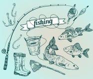 De getrokken vector plaatste: visserij Staaf, zalm, toppositie, emmer, fishi Stock Illustratie