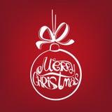 De getrokken vectorillustratie van de Kerstmisbal symbool Stock Afbeeldingen